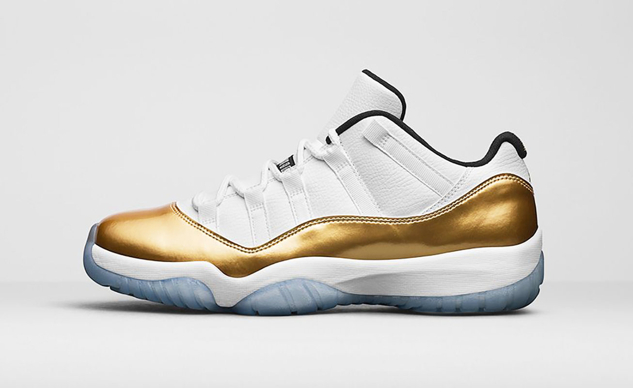 "AIR JORDAN 11 RETRO LOW ""WHITE/METALLIC GOLD"""
